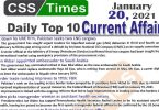 Daily Top-10 Current Affairs MCQs / News (January 20, 2021) for CSS, PMS