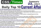 Daily Top-10 Current Affairs MCQs / News (January 22, 2021) for CSS, PMS