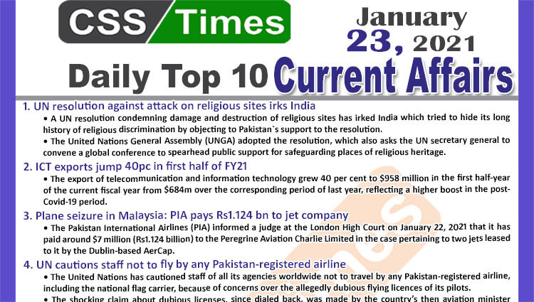 Daily Top-10 Current Affairs MCQs / News (January 23, 2021) for CSS, PMS