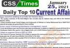 Daily Top-10 Current Affairs MCQs / News (January 24, 2021) for CSS, PMS