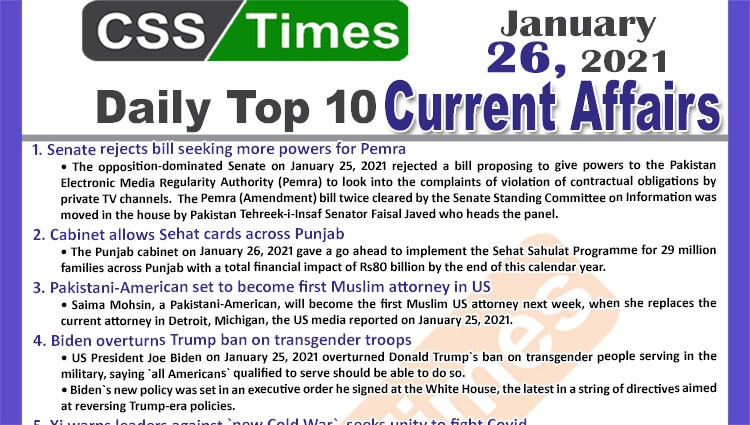 Daily Top-10 Current Affairs MCQs / News (January 26, 2021) for CSS, PMS