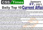 Daily Top-10 Current Affairs MCQs / News (January 27, 2021) for CSS, PMS
