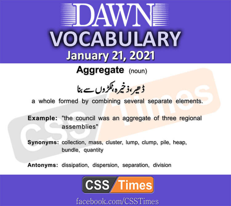 Daily DAWN News Vocabulary with Urdu Meaning (21 January 2021)