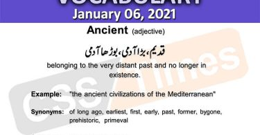 Daily DAWN News Vocabulary with Urdu Meaning (06 January 2021)