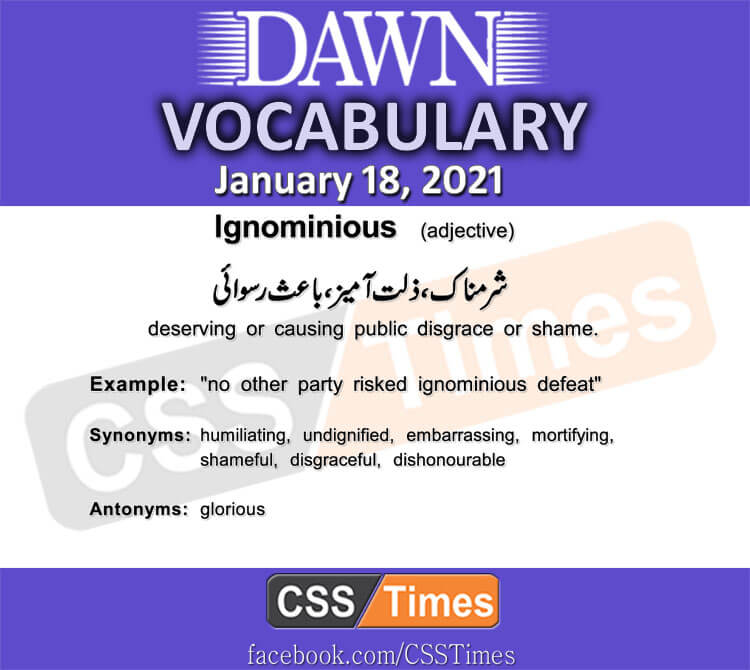 Daily DAWN News Vocabulary with Urdu Meaning (18 January 2021)