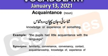 Daily DAWN News Vocabulary with Urdu Meaning (13 January 2021)