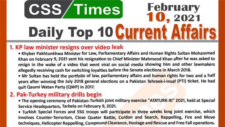 Daily Top-10 Current Affairs MCQs / News (February 10, 2021) for CSS, PMS