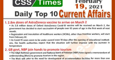 Daily Top-10 Current Affairs MCQs / News (February 19, 2021) for CSS, PMS