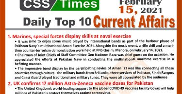 Daily Top-10 Current Affairs MCQs / News (February 15, 2021) for CSS, PMS