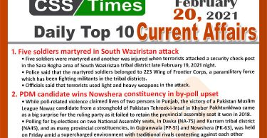 Daily Top-10 Current Affairs MCQs / News (February 20, 2021) for CSS, PMS