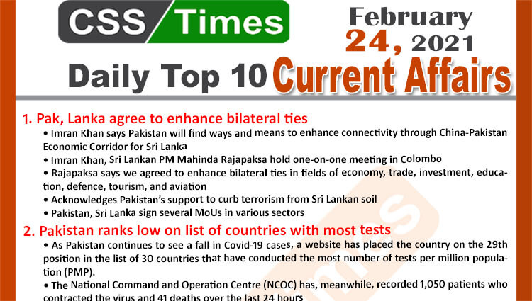 Daily Top-10 Current Affairs MCQs / News (February 24, 2021) for CSS, PMS