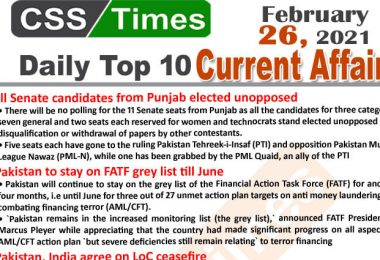 Daily Top-10 Current Affairs MCQs / News (February 26, 2021) for CSS, PMS
