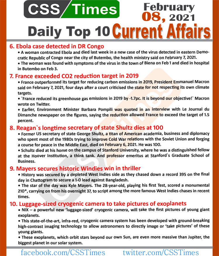 Daily Top-10 Current Affairs MCQs / News (News Summary 1 to 5)