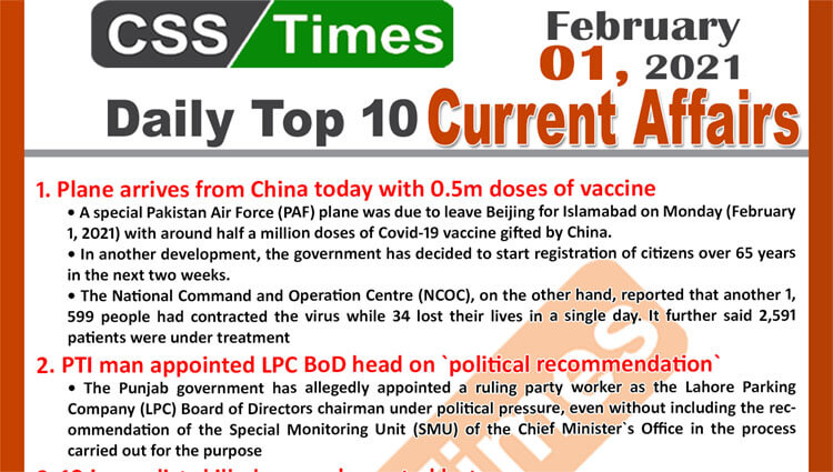 Daily Top-10 Current Affairs MCQs News (February 01, 2021) for CSS, PMS