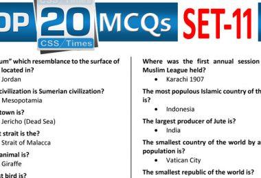 Daily Top-20 MCQs for CSS, PMS, PCS, FPSC (Set-11)