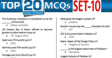 Daily Top-20 MCQs for CSS, PMS, PCS, FPSC (Set-10)