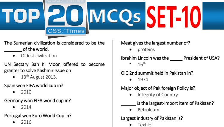 Daily Top-20 MCQs for CSS, PMS, PCS, FPSC (Set-10)