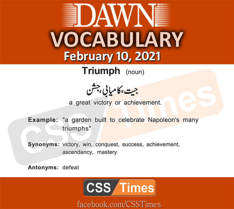 Daily DAWN News Vocabulary with Urdu Meaning (10 February 2021)