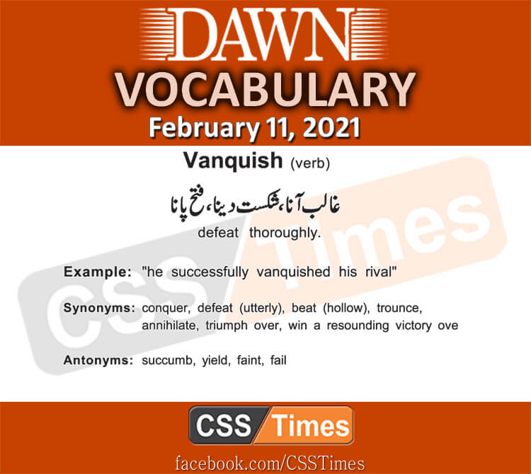 Daily DAWN News Vocabulary with Urdu Meaning (11 February 2021)