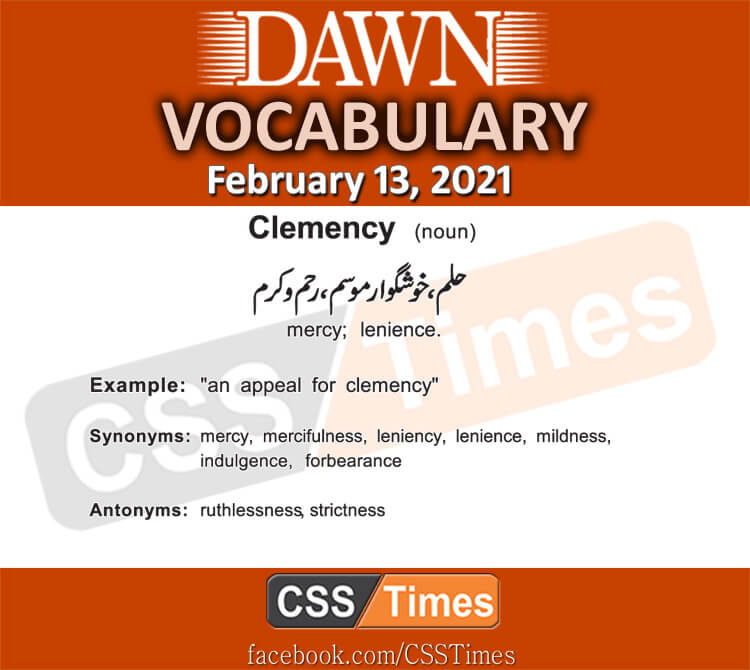 Daily DAWN News Vocabulary with Urdu Meaning (13 February 2021)