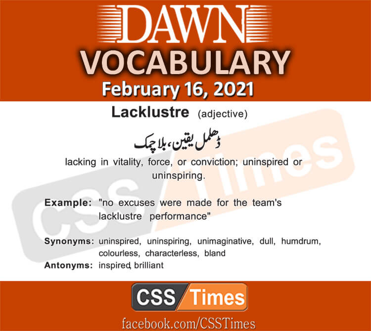 Daily DAWN News Vocabulary with Urdu Meaning (16 February 2021)