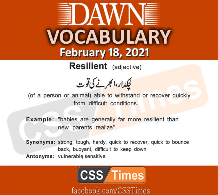 Daily DAWN News Vocabulary with Urdu Meaning (18 February 2021)