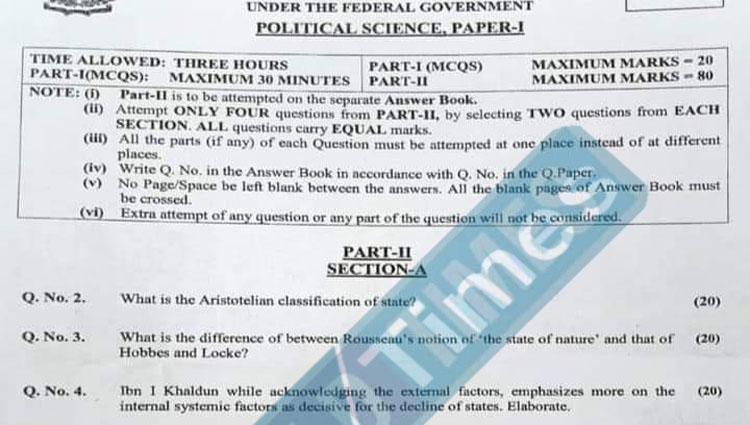 CSS Political Science Paper-I 2021 | FPSC CSS Past Papers 2021