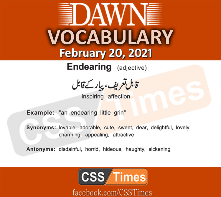 Daily DAWN News Vocabulary with Urdu Meaning (20 February 2021)