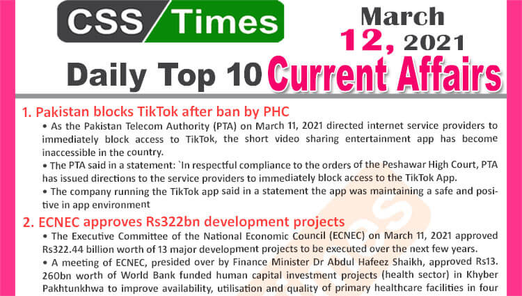 Daily Top-10 Current Affairs MCQs / News (March 12, 2021) for CSS, PMS