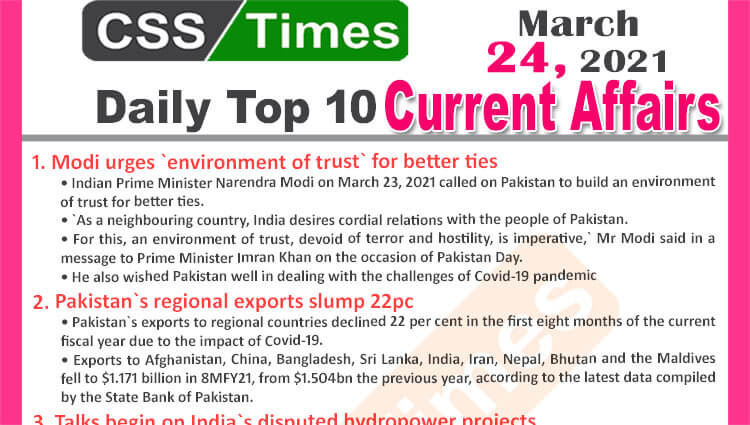 Daily Top-10 Current Affairs MCQs / News (March 24, 2021) for CSS, PMS