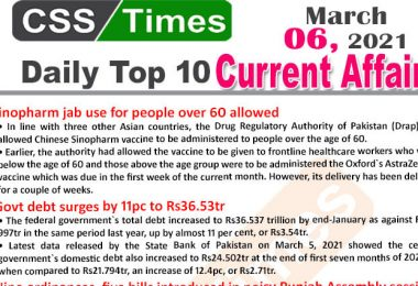 Daily Top-10 Current Affairs MCQs / News (March 06, 2021) for CSS, PMS