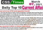 Daily Top-10 Current Affairs MCQs / News (March 07, 2021) for CSS, PMS