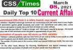 Daily Top-10 Current Affairs MCQs / News (March 08, 2021) for CSS, PMS