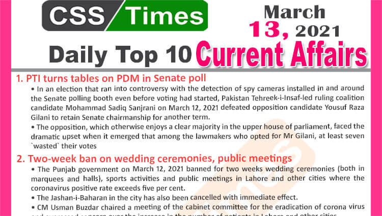 Daily Top-10 Current Affairs MCQs / News (March 13, 2021) for CSS, PMS