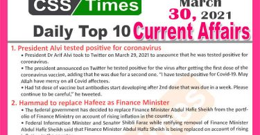Daily Top-10 Current Affairs MCQs / News (March 30, 2021) for CSS, PMS