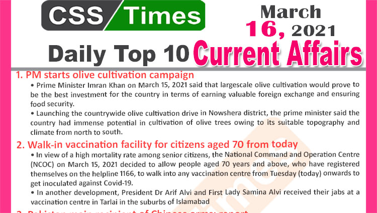 Daily Top-10 Current Affairs MCQs / News (March 16, 2021) for CSS, PMS