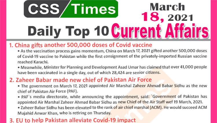 Daily Top-10 Current Affairs MCQs / News (March 18, 2021) for CSS, PMS