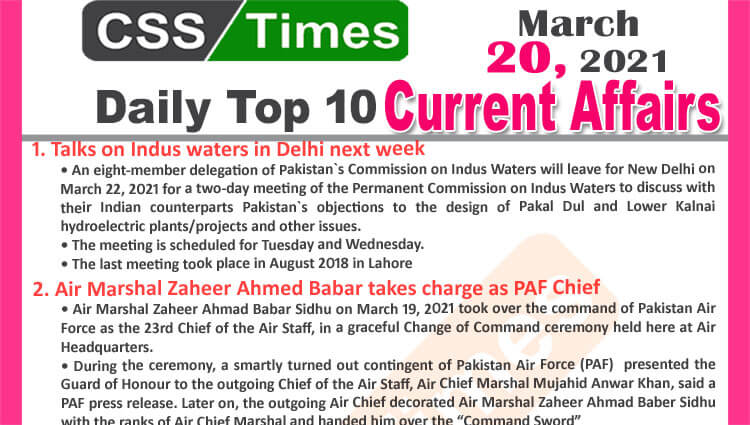 Daily Top-10 Current Affairs MCQs / News (March 20, 2021) for CSS, PMS