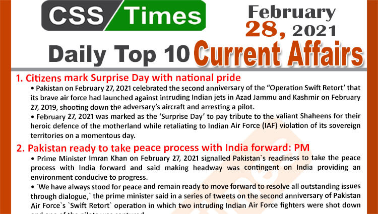 Daily Top-10 Current Affairs MCQs / News (February 28, 2021) for CSS, PMS