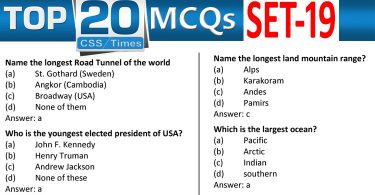 Daily Top-20 MCQs for CSS, PMS, PCS, FPSC (Set-19)