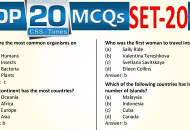 Daily Top-20 MCQs for CSS, PMS, PCS, FPSC (Set-20)