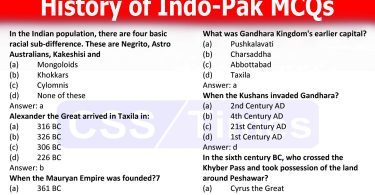 History of Indo-Pak MCQs (History of Subcontinent before Islam)