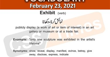 Daily DAWN News Vocabulary with Urdu Meaning (23 February 2021)