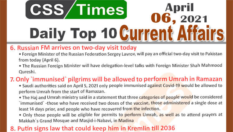 Daily Top-10 Current Affairs MCQs / News (April 06, 2021) for CSS, PMS