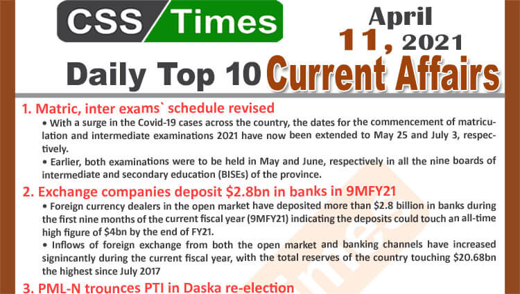 Daily Top-10 Current Affairs MCQs / News (April 11, 2021) for CSS, PMS