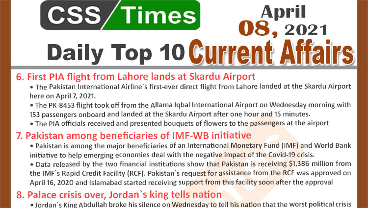 Daily Top-10 Current Affairs MCQs / News (April 08, 2021) for CSS, PMS