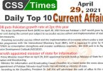 Daily Top-10 Current Affairs MCQs / News (April 29, 2021) for CSS, PMS