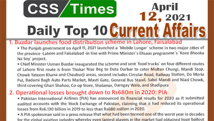 Daily Top-10 Current Affairs MCQs / News (April 12, 2021) for CSS, PMS
