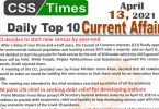 Daily Top-10 Current Affairs MCQs / News (April 13, 2021) for CSS, PMS