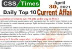Daily Top-10 Current Affairs MCQs / News (April 30, 2021) for CSS, PMS